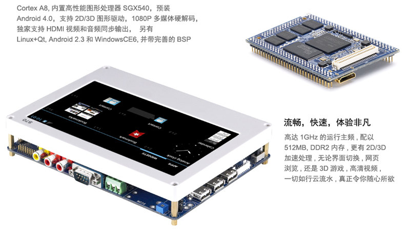 Tiny210 Development Board With 7inch Touch Screen Android